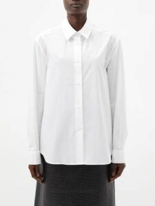 Miu Miu - Intarsia-stripe And Cable-knit Wool Cardigan - Womens - Ivory Multi