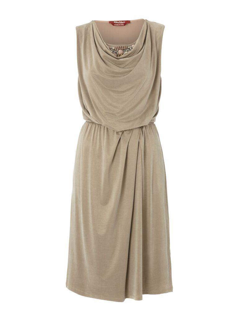 MaxMara Studio Diogini belted cowl neck dress with jewel detail, Sand