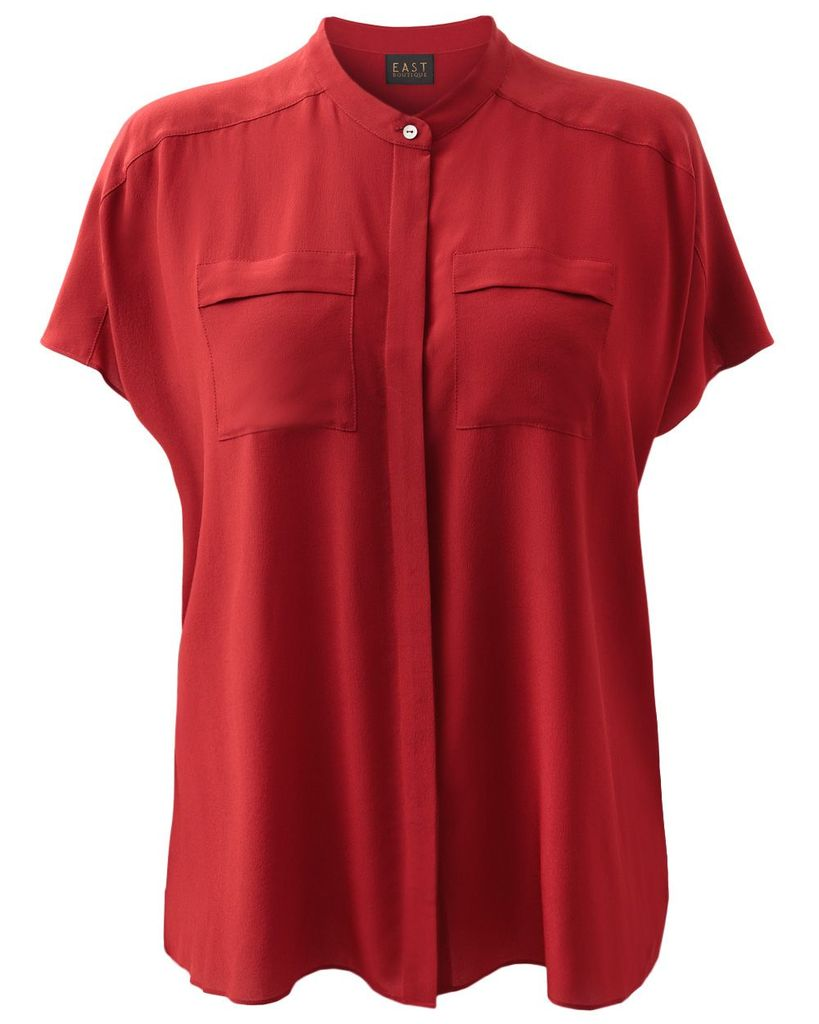 East Oversized silk blouse, Scarlet