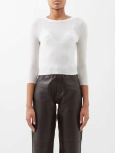 Alexander Mcqueen - Ruffle-trim Cut-out Shoulder Silk Blouse - Womens - Light Pink