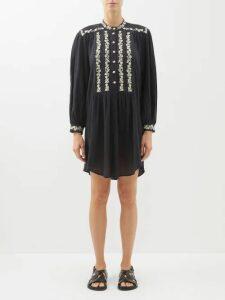 Borgo De Nor - Meret Colour Block Cotton Poplin Midi Dress - Womens - Navy Multi