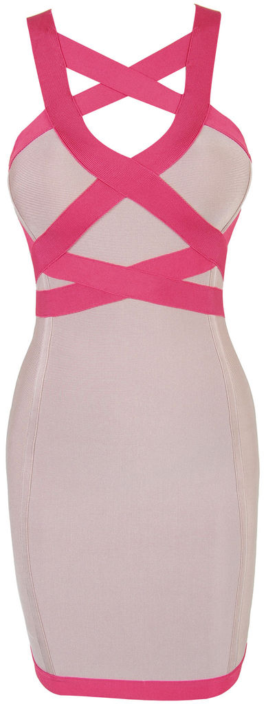 'Akira' Pink Cross Over Bandage Dress