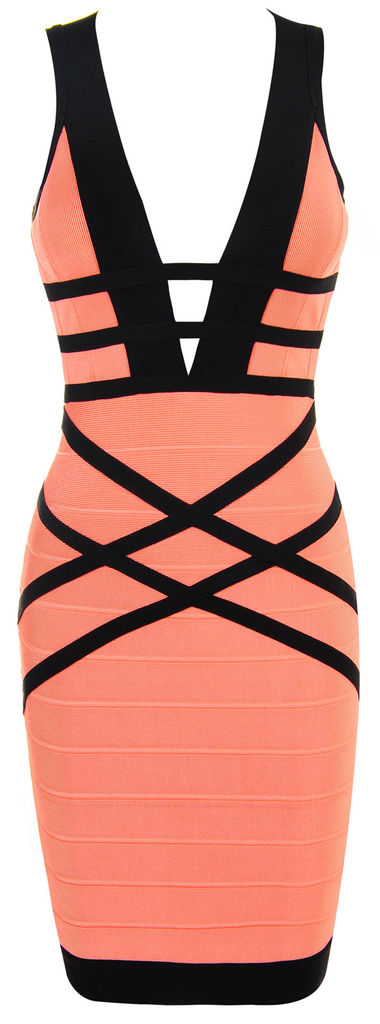 'Naima' Coral & Black Woven Back Bandage Dress
