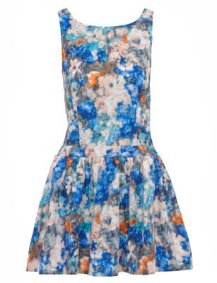 Jumpo Blue Flower Painting Print Dress
