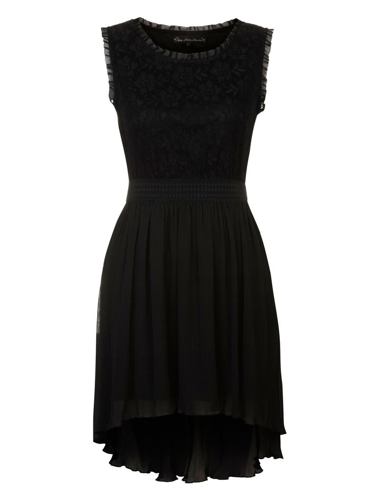 Mela Loves London Dipped hem lace dress, Black