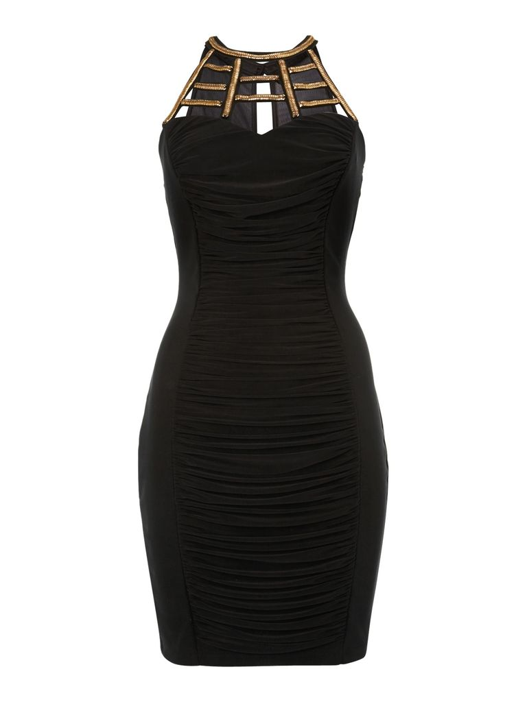 Lipsy Cage neck rouched dress, Black