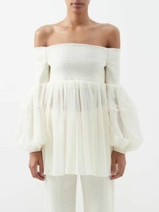 Kilometre Paris - Tirunamavalai Embroidered Cotton Shirtdress - Womens - White Multi