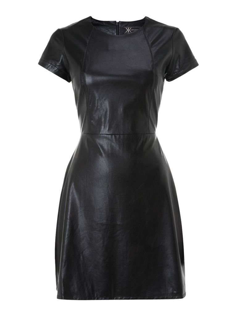 Lipsy Kardashian PU shift dress, Black
