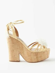 Rebecca De Ravenel - Daffodil Floral-print Cotton-blend Dress - Womens - Blue Print