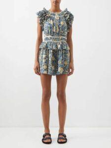 La Prestic Ouiston - Brooklyn Swirl Print Silk Midi Dress - Womens - Cream Multi