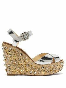 Christian Louboutin - Almericca 120 Cork Lamé Studded Wedge Sandals - Womens - Silver Gold