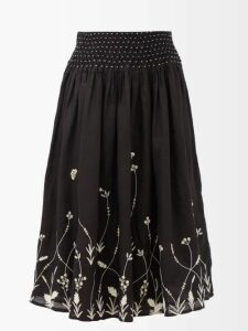 Peter Pilotto - Leaf Print Silk Blend Cloqué Gown - Womens - Green Multi