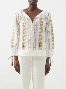 Zimmermann - Allia Pintuck High Neck Linen Blouse - Womens - White