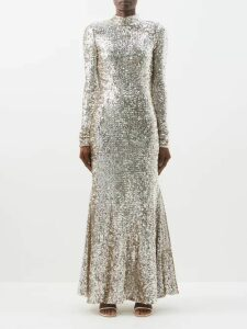 Prada - Polka Dot Chiffon Blouse - Womens - Brown Multi