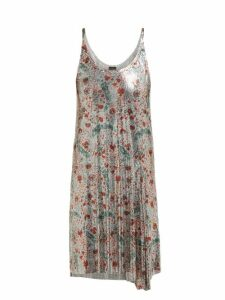 Paco Rabanne - Carnation Print Chainmail Dress - Womens - Silver Multi