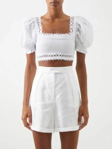 Three Graces London - Alette Cut Out Cotton Shirtdress - Womens - Black