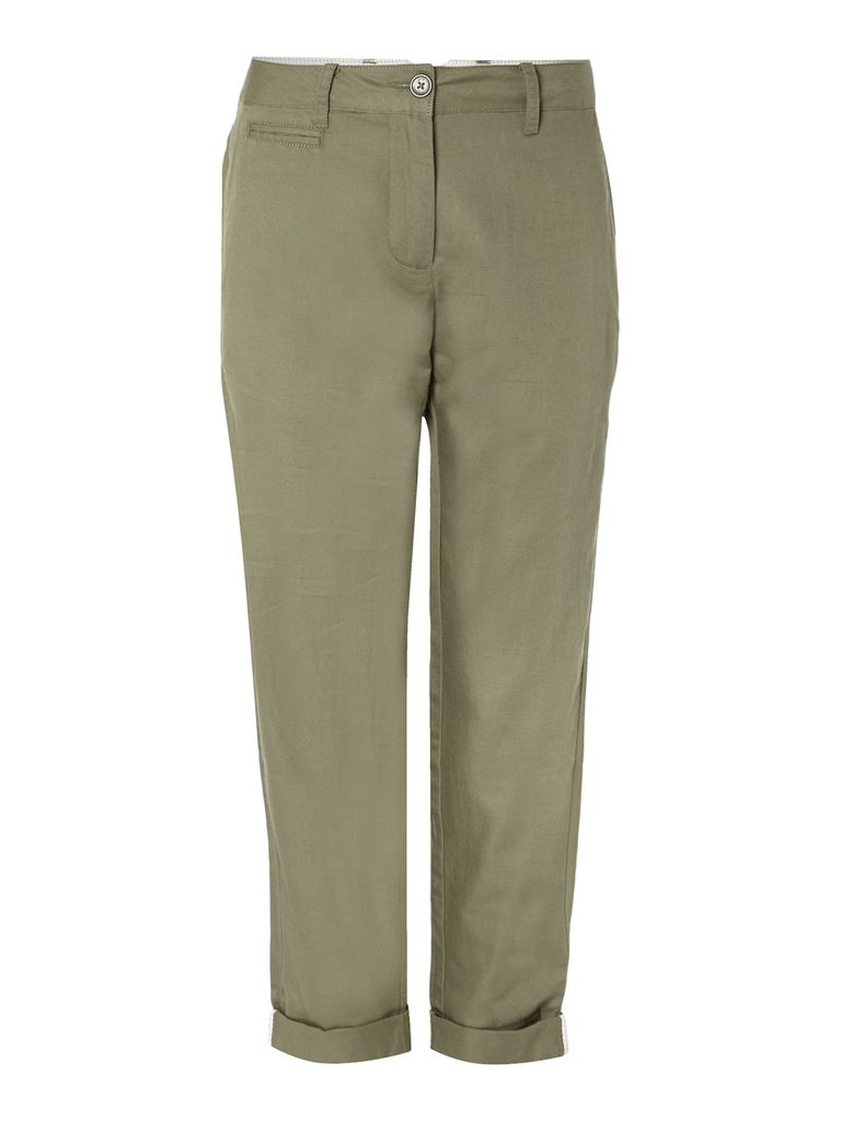 Linea Weekend Linen mix chino trousers, Khaki