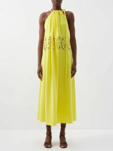 Cefinn - Contrast Panel Tie Waist Voile Midi Dress - Womens - Green Multi