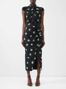 By Walid - Shirley 20th-century Embroidered Linen Dress - Womens - Red