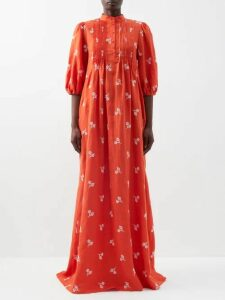 Three Graces London - Angelique Ramie-poplin Blouse - Womens - Green