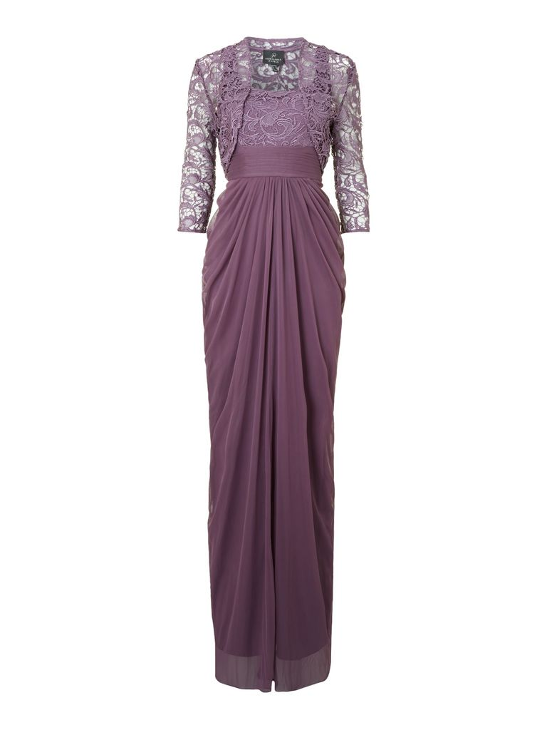 Adrianna Papell Lace and stretch tulle dress, Violet
