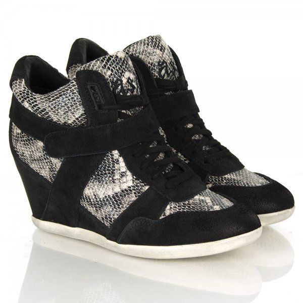 Ash Bisou Black Snake Contrast Wedge Velcro Trainer