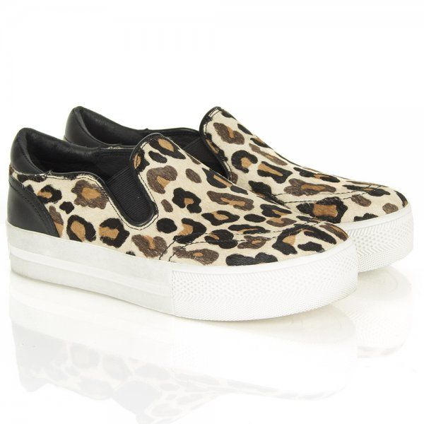 Ash Jungle Leopard Platform Slip On Trainer