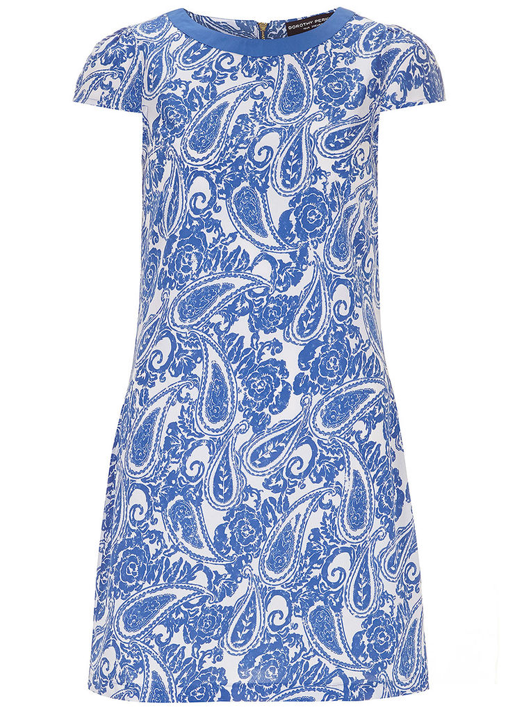 Blue paisley shift dress