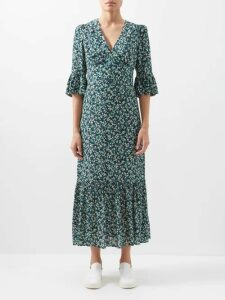 Dodo Bar Or - Vyan Floral-print Cotton-poplin Blouse - Womens - Burgundy Print