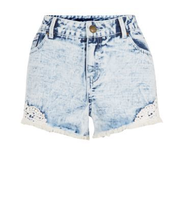 Light Blue Crochet Side Denim Shorts