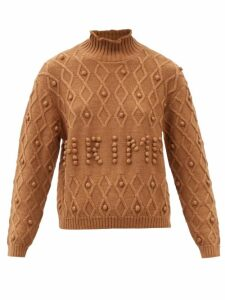 Barrie - Drop Shoulder Rib Knitted Cashmere T Shirt - Womens - Navy Multi
