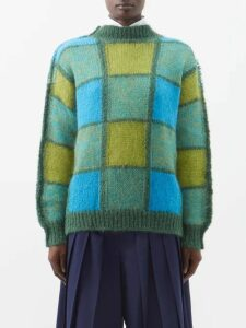 Osman - Julie Check Print Ruffle Bodice Linen Midi Dress - Womens - Green Multi