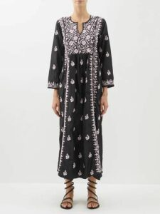 Erdem - Brigitta Fitzy Rose Print Silk Voile Cape Dress - Womens - Blue Multi