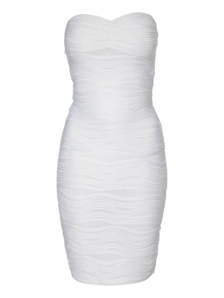 Jane Norman Bandeau wave textured bodycon dress, White