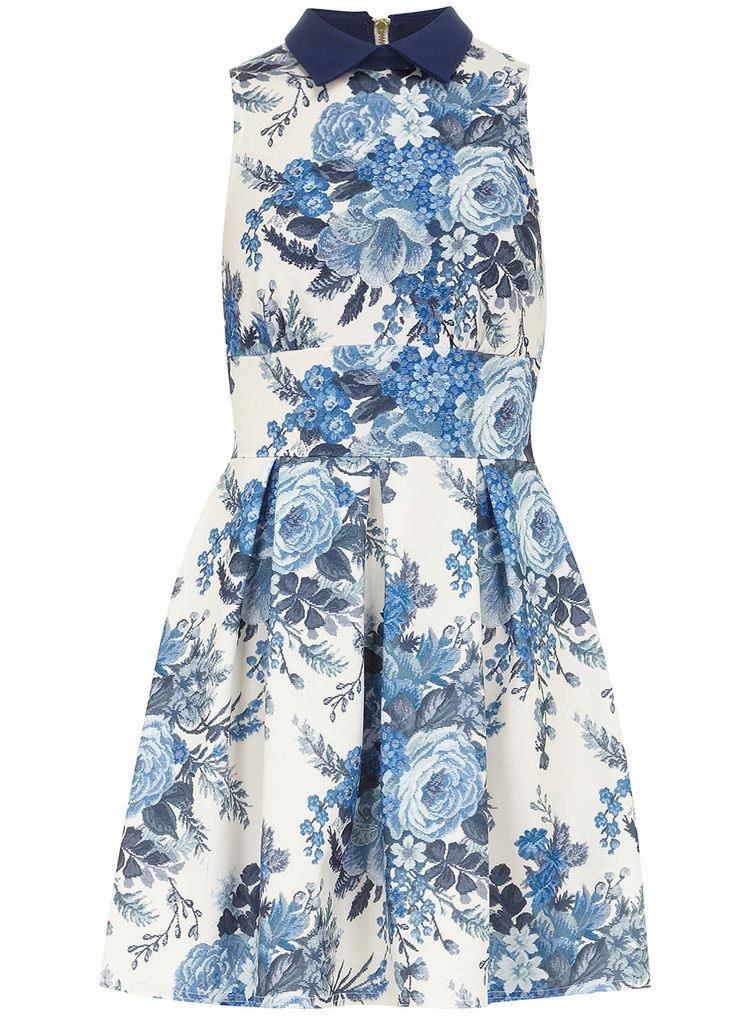 Blue Tapestry Print Dress