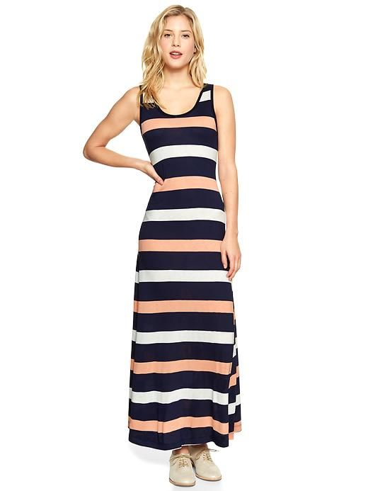 Gap Stripe Maxi Dress - Navy multi stripe