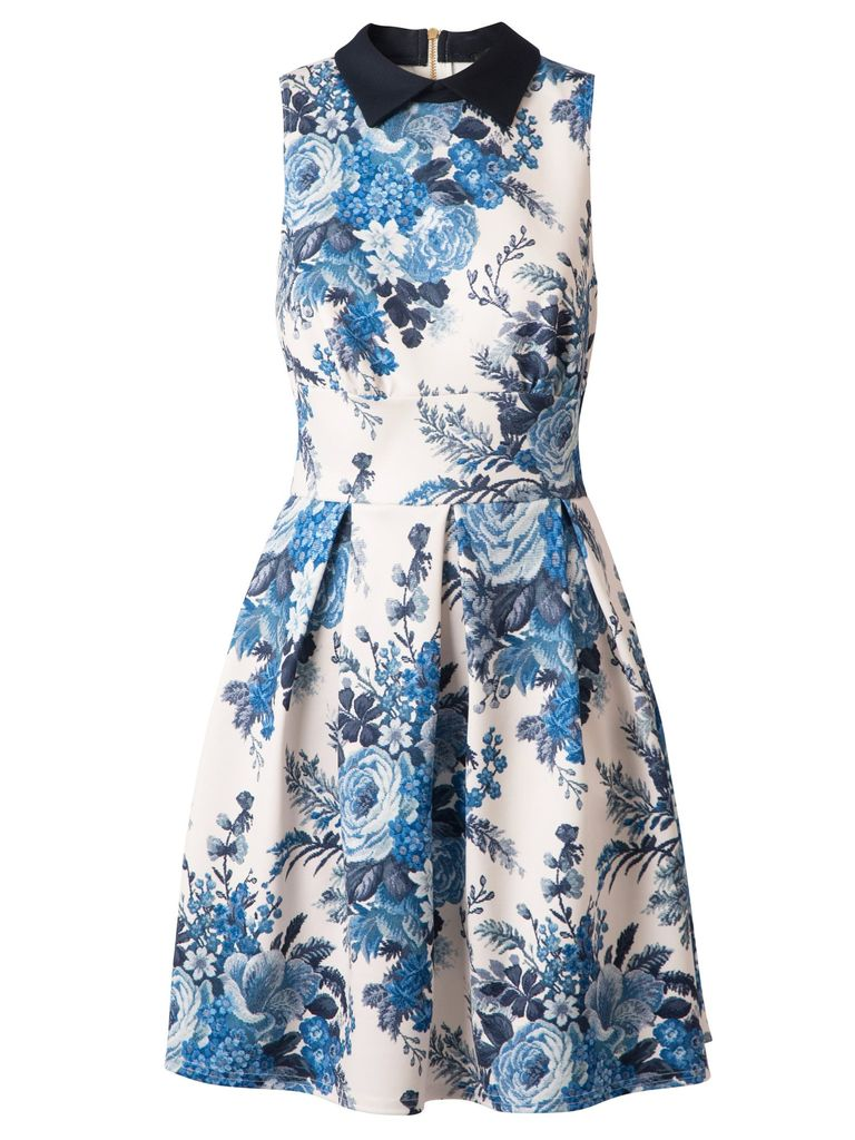 Closet Tapestry print collar dress, Blue