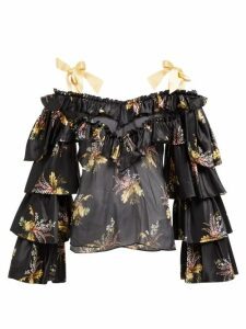 Rodarte - Ruffled Floral-print Silk-blend Blouse - Womens - Black Multi