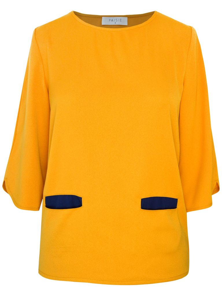 Paisie Mid Sleeve Top, Mustard Yellow