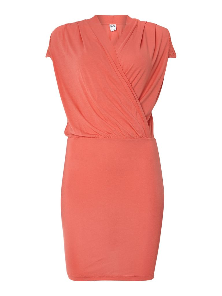 Vero Moda Cap sleeve wrap dress, Coral
