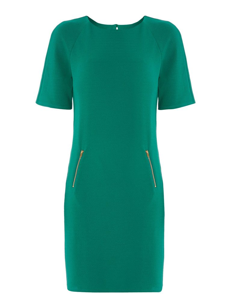 Therapy Crepe shift with zips, Emerald