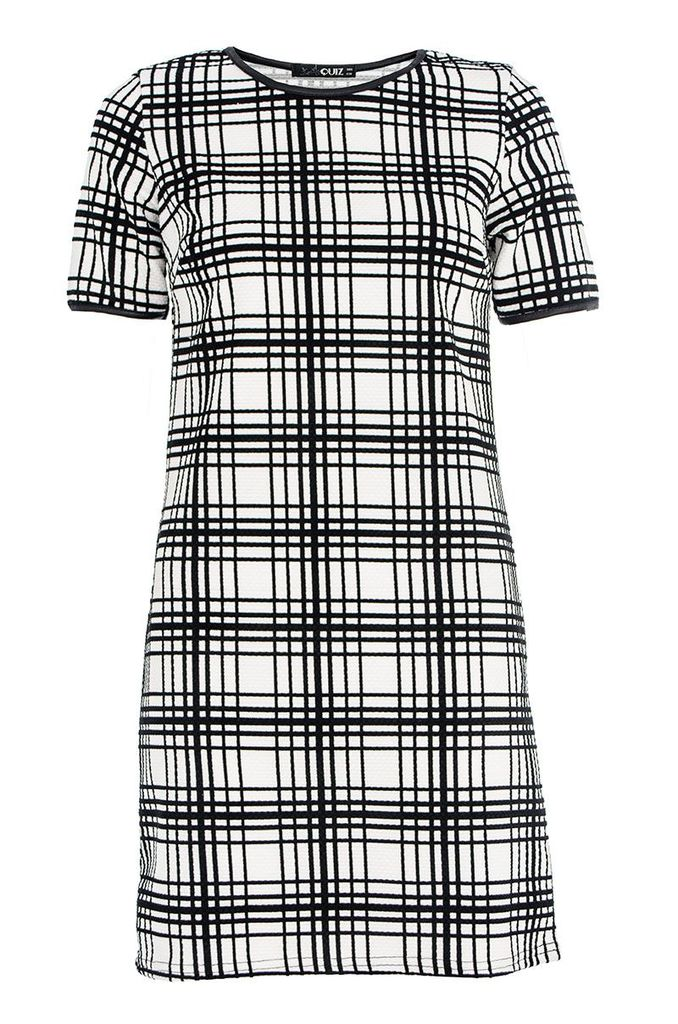 Quiz Textured check tunic dress, Multi-Coloured