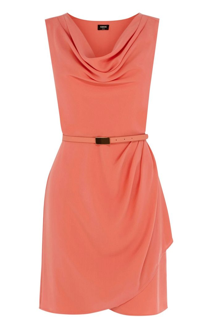 Oasis Lola cowl crepe shift dress, Orange