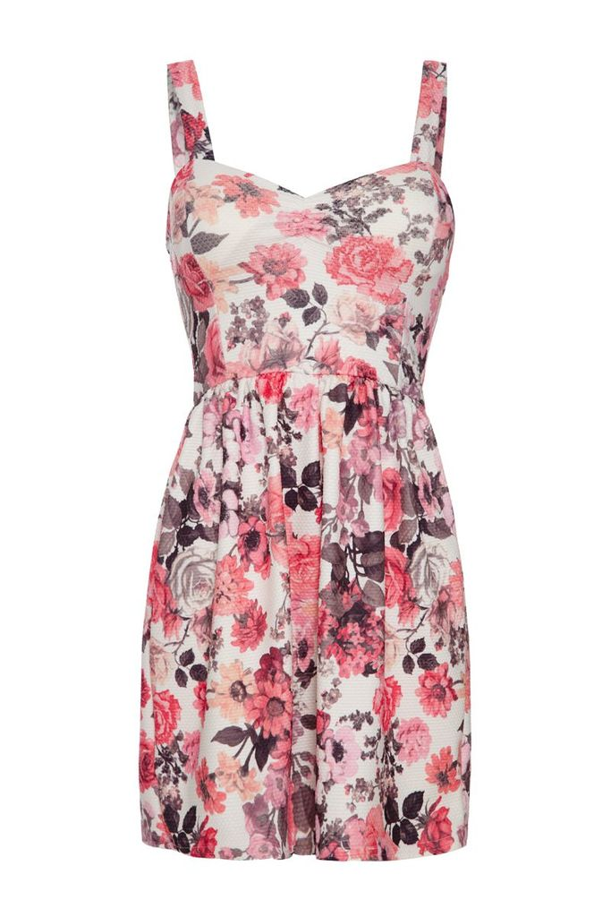 Quiz Textured flower print skater dress, Multi-Coloured
