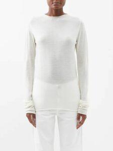 Adriana Degreas - Marine Embroidered Linen-blend Skirt - Womens - Navy