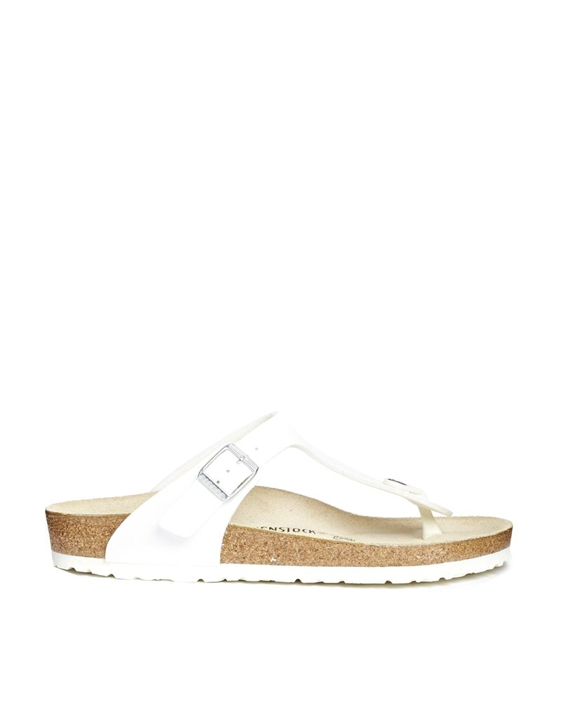 Birkenstock Gizeh White Flat Regular Fit Sandals - White