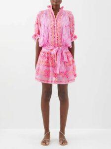 Marques'almeida - Handkerchief-hem Belted Denim Mini Dress - Womens - Denim