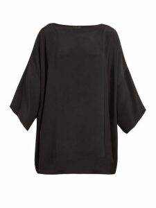 Eskandar - Boat-neck Silk-crepe Blouse - Womens - Black
