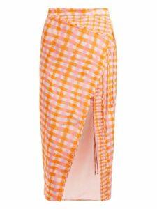 Altuzarra - Cicero Gingham Print Silk Midi Skirt - Womens - Orange Multi