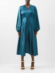 Burberry - Pussy-bow Dalmatian-print Silk Blouse - Womens - Black White